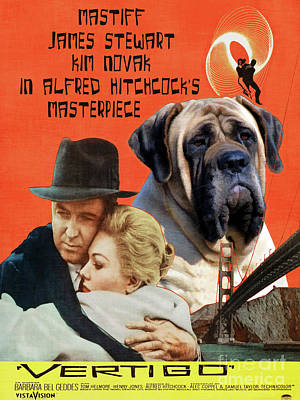 Painting - English Mastiff Art Canvas Print - Vertigo Movie Poster by Sandra Sij