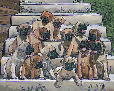 Painting - English Mastiff Puppies by Nadi Spencer