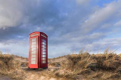English Phone Box On The Beach Art Print