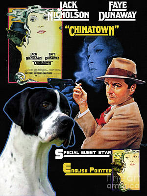 Painting - English Pointer Art Canvas Print - Chinatown Movie Poster by Sandra Sij