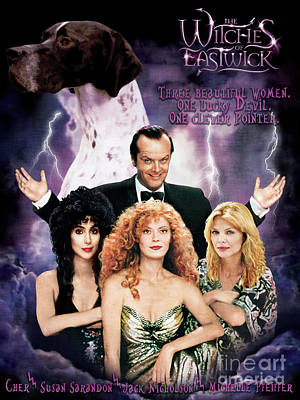Painting - English Pointer Art Canvas Print - The Witches Of Eastwick Movie Poster by Sandra Sij