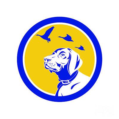 Dog Head Digital Art - English Pointer Dog Head Looking Up Circle Retro by Aloysius Patrimonio