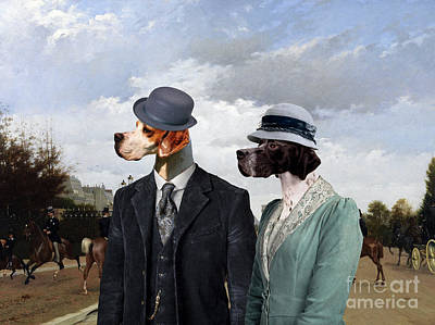Painting - English Pointer - Pointer Art Canvas Print - The Avenue by Sandra Sij