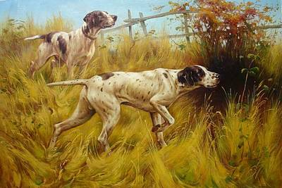 Setter Pointer Painting - English Pointers by Lucia Amitra