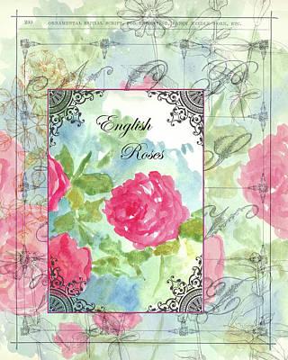 Cabbage Mixed Media - English Roses by Cathie Richardson