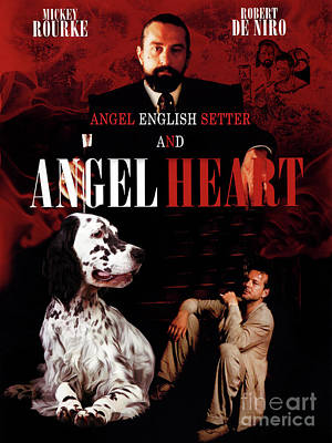 Painting - English Setter Art Canvas Print - Angel Heart Movie Poster by Sandra Sij