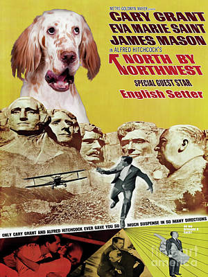 Painting - English Setter Art Canvas Print -  North By Northwest Movie Poster by Sandra Sij