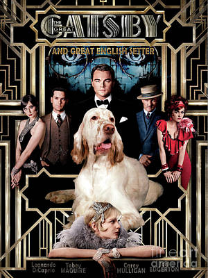Painting - English Setter Art Canvas Print -  The Great Gatsby Movie Poster by Sandra Sij