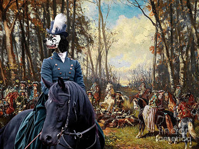 Painting - English Setter Art Canvas Print - The Noble Hunt Party by Sandra Sij