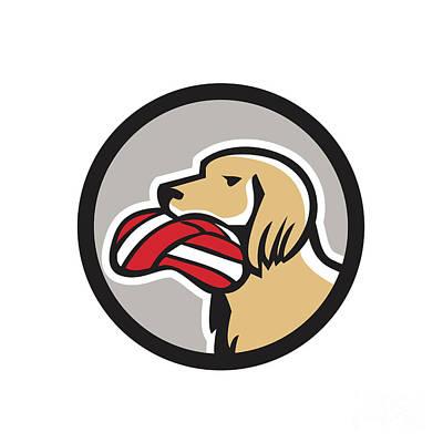 Dog Head Digital Art - English Setter Dog Head Deflated Volleyball Circle Retro by Aloysius Patrimonio
