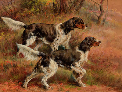 Sniffing Painting - English Setters by Edmund Henry Osthaus