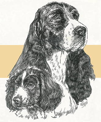 Mixed Media - English Springer Spaniel And Pup by Barbara Keith