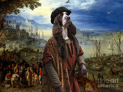 Painting - English Springer Spaniel Art Canvas Print  - The Port by Sandra Sij