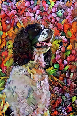 Mixed Media - English Springer Spaniel In The Garden by Peggy Collins