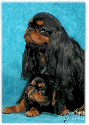 Pup Digital Art - English Toy Spaniel And Pup Hiding by Maxine Bochnia
