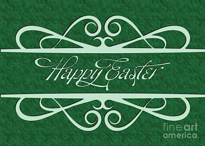 Digital Art - Engraved Happy Easter by JH Designs