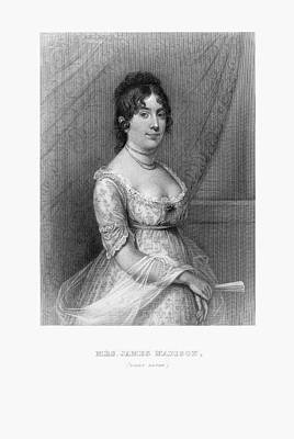 James Madison Drawing - Engraved Portrait Of Mrs. James Madison, Dolly Payne, Circa 1780 by Peacock Graphics