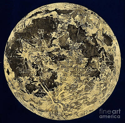 Engraving Of Moon Surface, C. 1846 Art Print by Wellcome Images