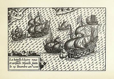 Antique Vessel Drawing - Engraving Of Van Noort Landing In Manila Bay, Philippines, 1600 by Peacock Graphics