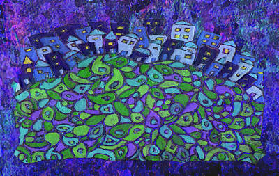 Altered Painting - Enhanced Blue City On A Hill by Wayne Potrafka