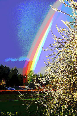 Mixed Media - Enhanced Rainbow Entering Forest by Ben Upham III