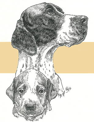Mixed Media - English Pointer And Pup by Barbara Keith