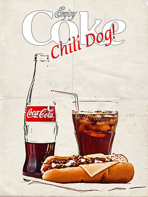 Art Print featuring the photograph Enjoy Coca-cola With Chili Dog by James Sage