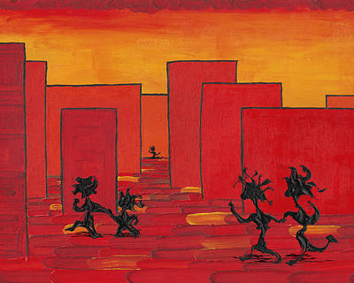 Abstract Skyline Painting - Enjoy Dancing In Red Town P1 by Manuel Sueess