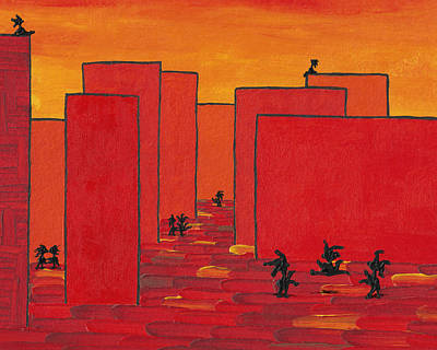 Painting - Enjoy Dancing In Red Town P2 by Manuel Sueess