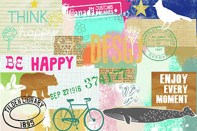 Whale Mixed Media - Enjoy Every Moment Collage by Claudia Schoen