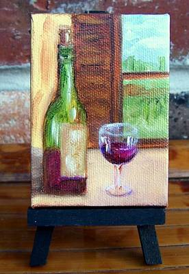 Painting - Enjoy  Miniature With Easel by Susan Dehlinger