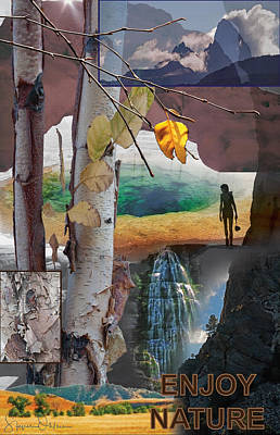 Yellowstone Mixed Media - Enjoy Nature - Signed Limited Edition by Steve Ohlsen