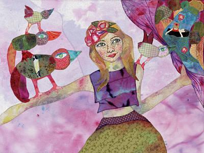 Fabric Mixed Media - Enjoy The Unfolding by Karen Payton