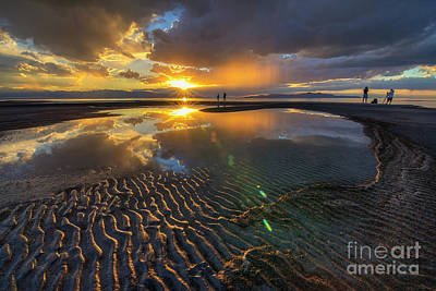 Photograph - Enjoying A Sunset At The Great Salt Lake by Spencer Baugh