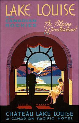 Royalty-Free and Rights-Managed Images - Enjoying a view of the mountains from a Hotel room - Lake Louise Canandian Rockies - Vintage Poster by Studio Grafiikka