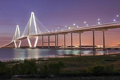 Photograph - The Arthur Ravenel Bridge At Night Charleston Sc by Willie Harper