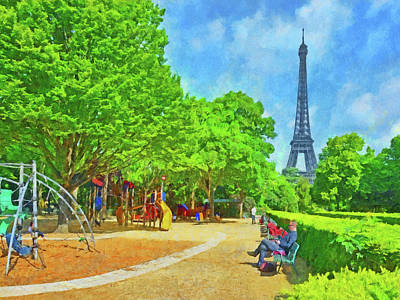 Park Scene Digital Art -  Enjoying The Champ De Mars Near The Eiffel Tower by Digital Photographic Arts