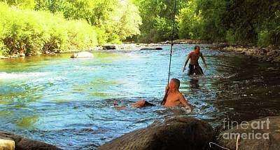 Digital Art -  Enjoying The Cool Creek by Annie Gibbons