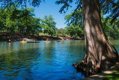 Enjoying The Guadalupe River - Camp Waldemar Texas Art Print by L O C