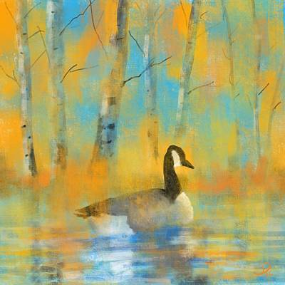 Goose Digital Art - Enjoying The Pond by David G Paul