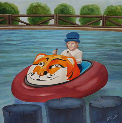 Amusement Parks Painting - Enjoying The Ride by Angeles M Pomata