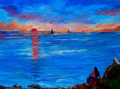 Painting - Enjoying The Sunset Differently by Constantinos Charalampopoulos