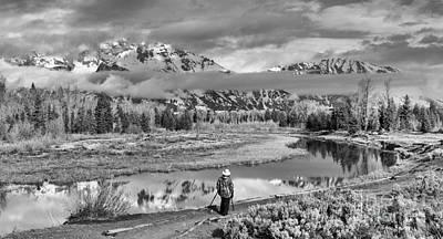 Photograph - Enjoying The Teton Morning Views Black And White by Adam Jewell