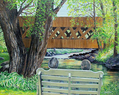 Covered Bridge Painting - Enjoying The View by Susan DeLain
