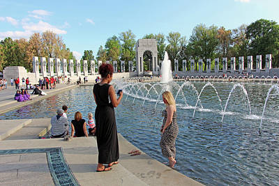 Photograph - Enjoying The Water At The World War II Memorial by Cora Wandel