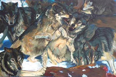 Art Print featuring the painting Enjoying Their Prey by Koro Arandia