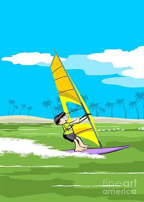 Vacation Digital Art - Enjoying Windsurfing On An Island Vacation by Daniel Ghioldi