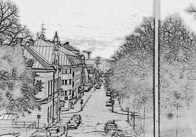 Photograph - Enkoping From Church Artistic by Leif Sohlman