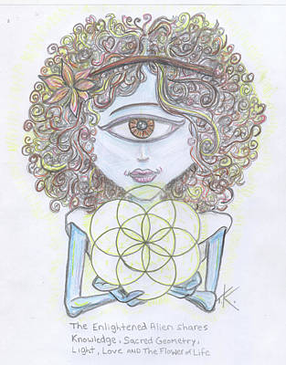 Drawing - Enlightened Alien by Similar Alien