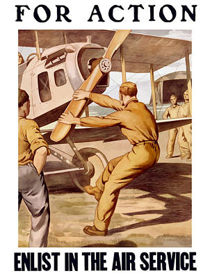 Us Propaganda Painting - Enlist In The Air Service by War Is Hell Store